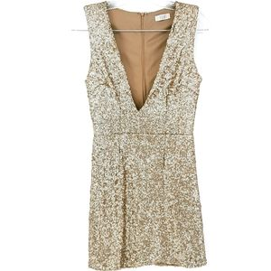 Tobi Champagne Gold Deep V Low Cut Mini Dress
